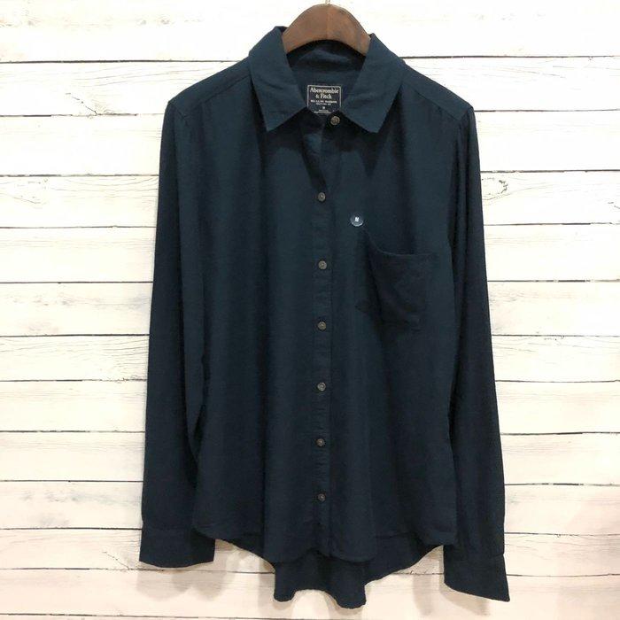 Maple麋鹿小舖 Abercrombie&Fitch * AF  深藍色素面長袖襯衫 * ( 現貨M號 )