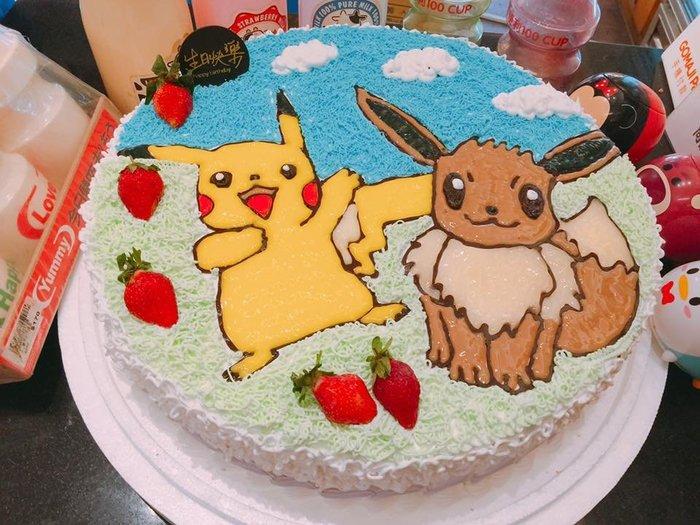 ❤ 歡迎自取 ❥ 雪屋麵包坊  ❥ 皮卡丘 & 伊布 ❥ 14 吋生日蛋糕 ❥❥ 送彩色蠟燭唷