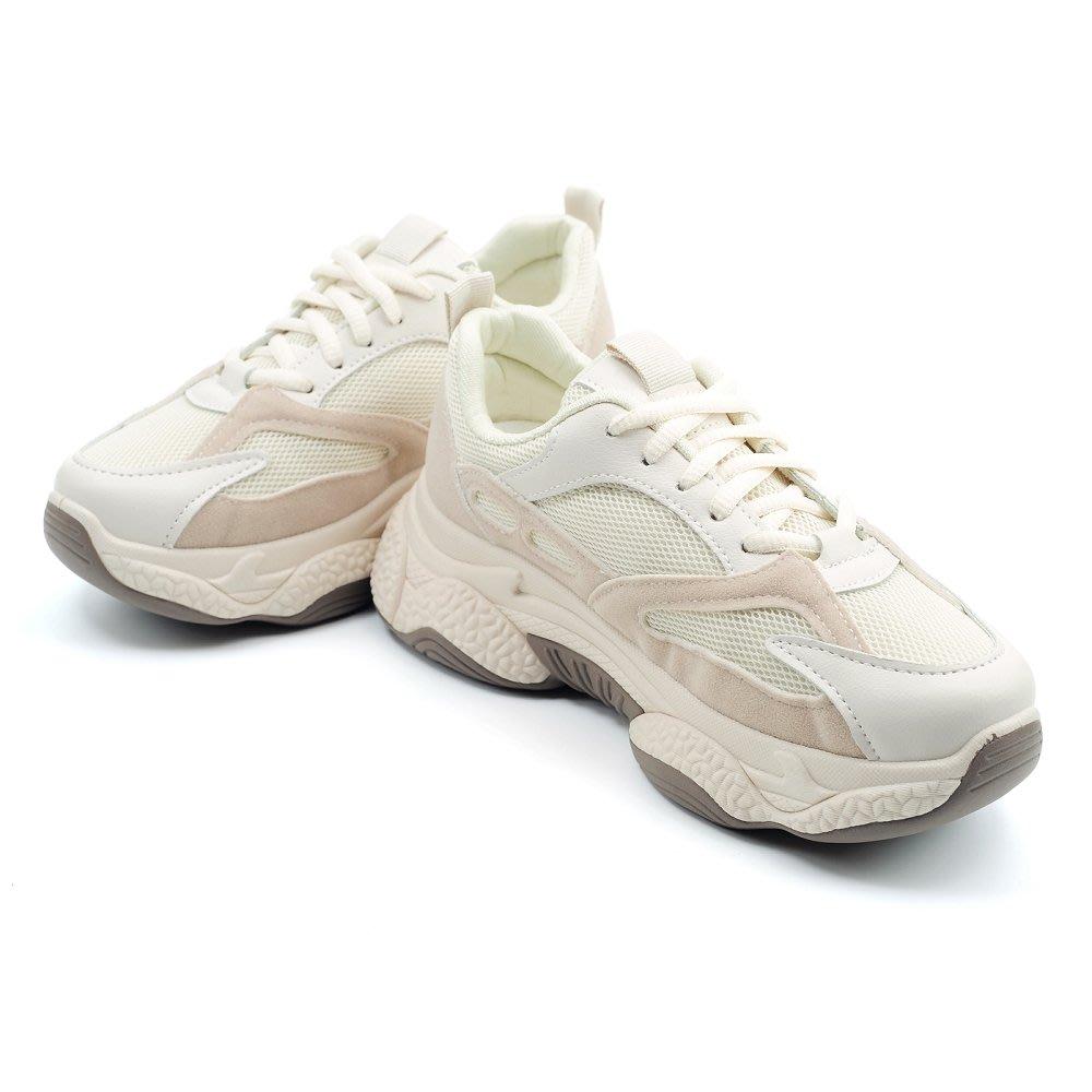 ❤含運 ❤ │鞋念 美人館│透氣網布雙色厚底綁帶老爹鞋-米色36-40碼【502-03】