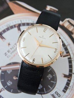 原裝真品 正18K 玫瑰金 Zenith 真力時 先力 典藏手上鍊機械古董錶 男錶 中性錶