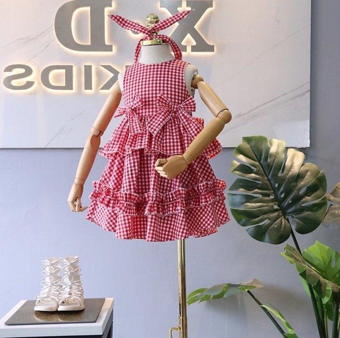 *蜜寶貝* 全新-送髪飾-中小女童女童裙子格子髮箍連衣裙蛋糕裙865160-尺寸90-130CM-0021