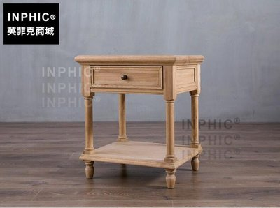 INPHIC-歐美式鄉村風橡木床頭櫃 簡約復古實木框架做舊置物架角櫃_S1910C