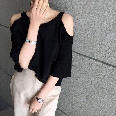 ❤Princess x Shop❤超彈力親膚純棉露肩短袖T恤TF27392韓國同款