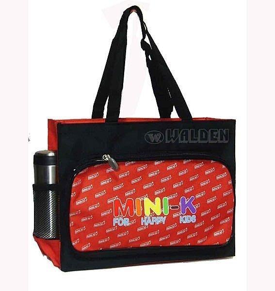 【葳爾登】MINI-K兒童手提袋便當袋/補習袋/文具袋可放A4/購物袋/MINI-K餐袋才藝袋2255紅色