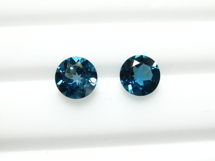 【Texture & Nobleness 低調與奢華】天然寶石 倫敦藍托帕石 拓帕石 成對共2克拉