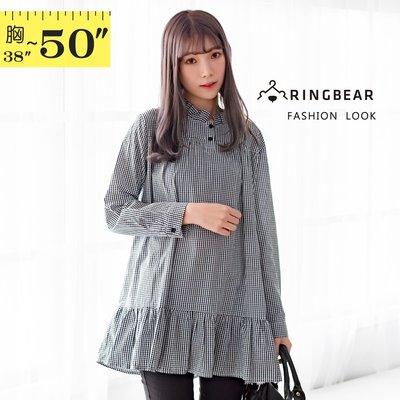 襯衫洋裝--經典可愛撞色格紋百褶立領荷葉裙娃娃裝長版上衣(黑XL-4L)-X367眼圈熊中大尺碼