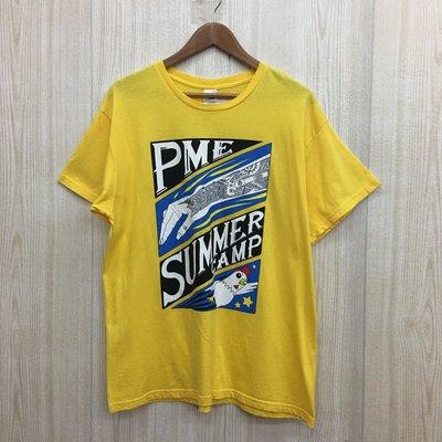 【愛莎&嵐】Gildan Premium Cotton 男 黃色文字圖案短袖T恤 / XL 1060922