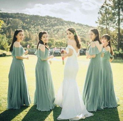 婚禮洋裝 新娘結婚禮服 吊帶裙 伴娘禮服 長裙 連身裙 拉鏈森系年會晚禮服姐妹裙 畢業禮服—莎芭