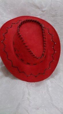 全新  牛仔帽  美國西部牛仔帽 仿皮牛仔帽-大紅色  萬聖 聖誕 舞會 派對 Cosplay 表演 造型 道具