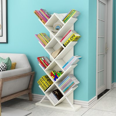 現貨/樹形書架學生書櫃簡易臥室置物架書櫥個性創意兒童書架現代簡約木78SP5RL/ 最低促銷價