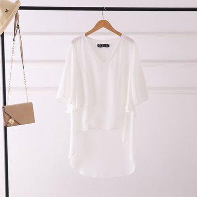 白色 現貨 雪紡衫 假兩件 不對稱 上衣 罩衫 女士 短袖 雪紡長T恤 防曬衫