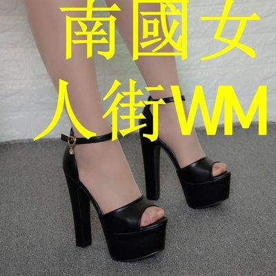 南國女人街WM14cm夏季新款一字扣粗跟中跟涼鞋女夏天正韓高跟鞋性感魚嘴女涼鞋