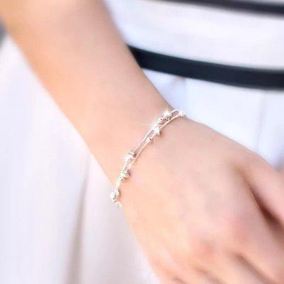 家財佛飾品新款香港正生純銀 網紅S925手鍊 女新款 雙層星星 簡約清新款送女