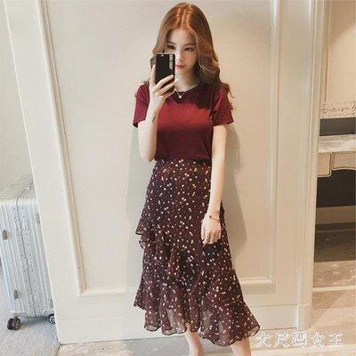 ZIHOPE 兩件式洋裝 2019夏裝新款韓版碎花半身裙子時尚洋氣很仙的套裝裙ZI812