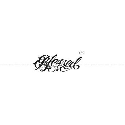 優良鋪子-紋身果汁(132)11X4CM 花臂紋身英文Blessed  鏤空模板#防水#霸氣#暗黑