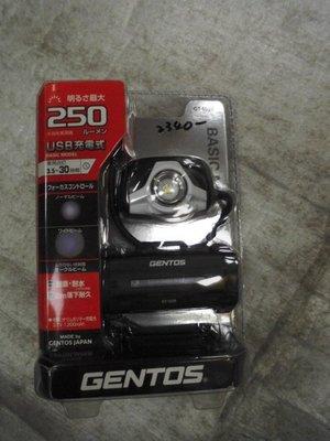 【n0900台灣健立最便宜】2016日本GENTOS-可充電式頭燈[亮度250流明/實際照明3.5小時] GT-103R
