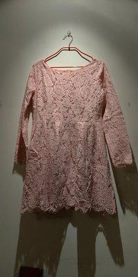 韓製粉色全蕾絲洋裝