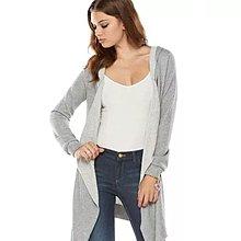 全新 Juicy Couture 專櫃正品 淺灰色 不規則無扣棉質亮粉長版外套