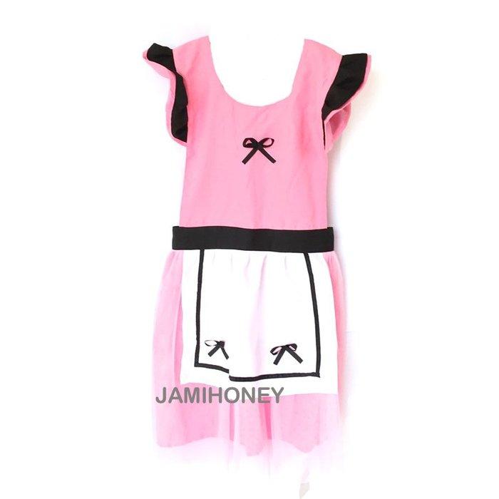 粉色黑滾邊蝴蝶結 成人圍裙【JI2381】《Jami Honey》