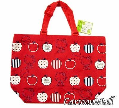 【卡漫迷】 Hello Kitty 手提袋 紅 蘋果 剩3 ㊣版 凱蒂貓 補習 購物袋  肩背包 提帶可調整 日版