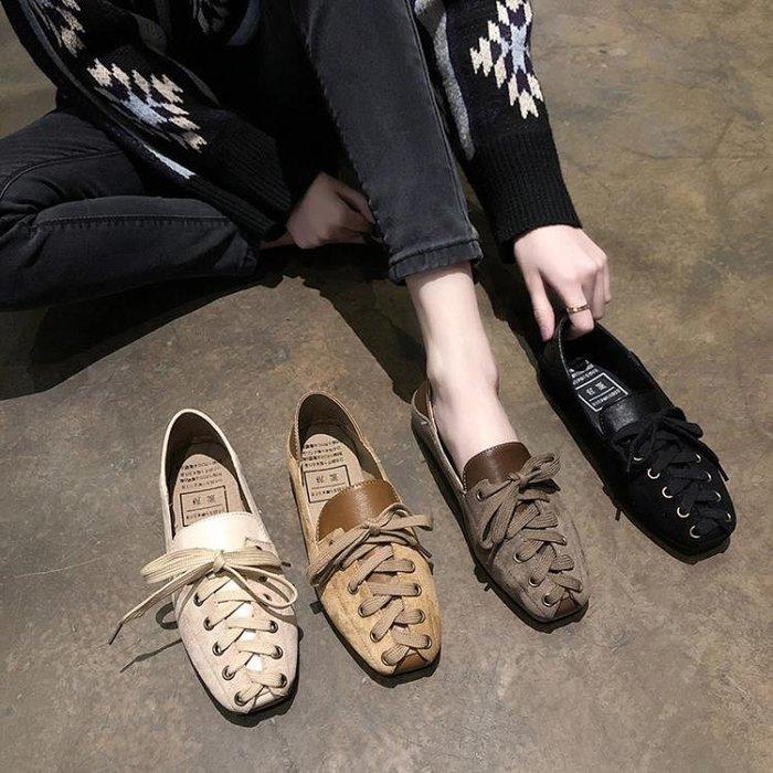 新款小清新交叉帶方頭淺口單鞋女韓版舒適軟底兩穿休閒鞋