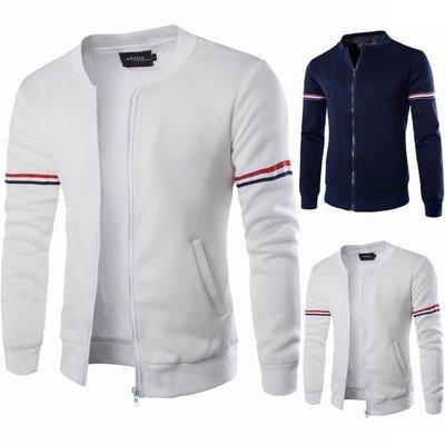 『潮范』 WS08 外貿實拍棉質立領外套 男士織帶裝飾修身夾克 運動外套 棒球服NRB2047