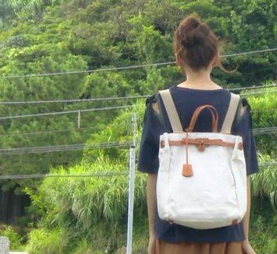 SeyeS NYLON古著時尚英倫歐美復古凱莉帆布接皮革後背包