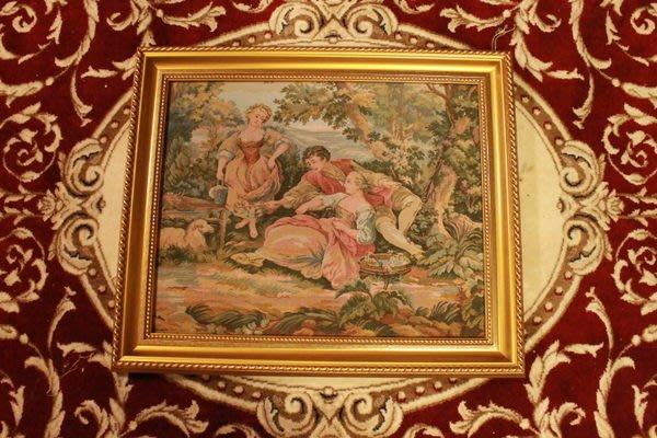 【家與收藏】 稀有珍藏賠本出清歐洲古董法國古典優雅羅曼史愛情故事刺繡畫/掛毯壁飾5