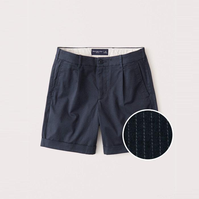 【Abercrombie&Fitch】【A&F】AF男款休閒短褲短版白條藍 F02200915-07