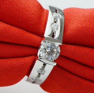 女士鑽戒 純銀鍍鉑金鑽戒  高火彩求婚結婚鑽戒 個性新款微鑲鑽戒 0.5克拉