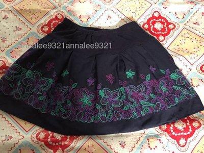 日本 Anna sui mini  花朵刺繡裙子~140CM