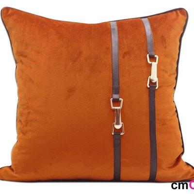 = cmCasa = [5631]現代歐式後現代視覺設計 Buckle單色皮帶抱枕套 經典新發行