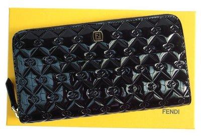 Fendi 8M0024 P.Foglio con Lampo Vernice Zip Wallet 漆皮拉鍊長夾 黑