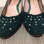 ❤夏莎shasa❤日本買回墨綠色帶鑽氣質厚底楔型鞋/基本款/上班族必備/1元起標