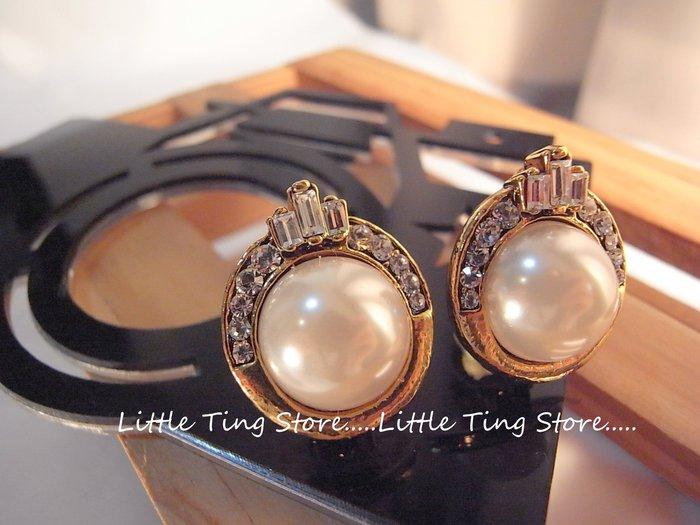 范倫鐵諾奧地利施華洛世奇T鑽輕量款大珍珠皇冠耳環夾式耳環貼耳飾 獨家不痛耳套耳環 -古金色