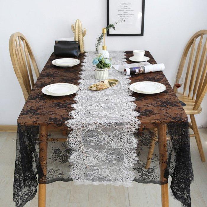 台灣 現貨 桌旗 黑色 白色 35*145 花木馬 婚禮 佈置 裝飾 透明 桌布 花邊 鄉村風 法式 雜貨 道具