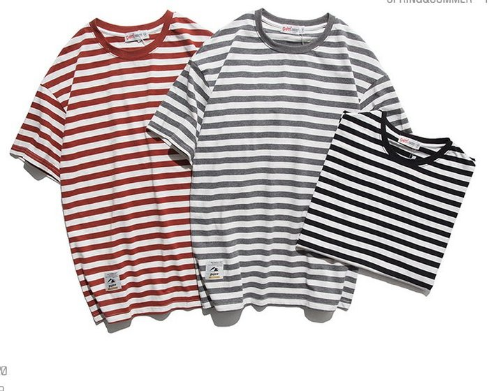 衣尚時裝☆ZEBRA☆日系街頭風格潮T條紋落肩短袖T恤上衣(三色)~預購+現貨