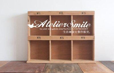 [ Atelier Smile ] 鄉村雜貨 手作絲印原木 6格收納盒 立式 分類展示盒 (現+預)