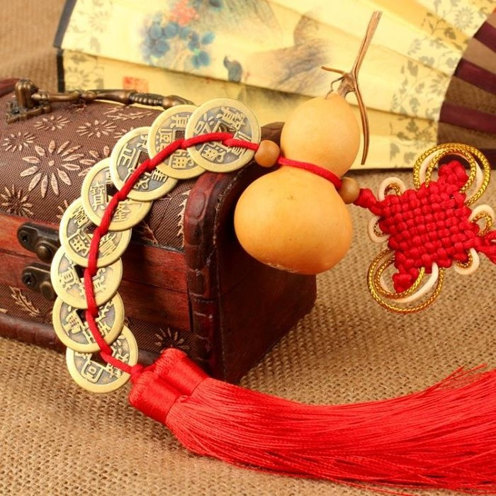 廣緣德風水天然葫蘆掛件文玩五帝銅錢葫蘆掛飾家居工藝裝飾品擺件尾牙