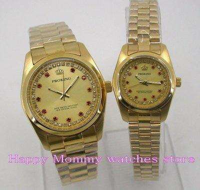 【 幸福媽咪 】網路購物、門市服務 PROKING 皇冠 日本機芯 男女對錶_金色款4026M