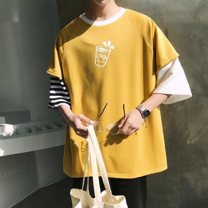 夏季新款學生短袖T恤韓版潮流五分袖寬鬆半截袖男士衣服