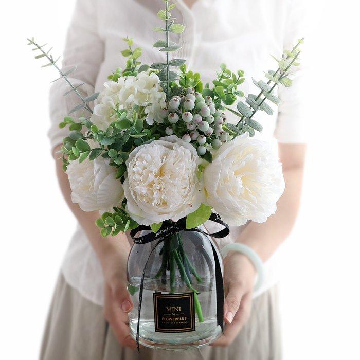 假花瓶 假花 仿真花 花器 花盆 玻璃 年花仿真牡丹花玫瑰花束婚慶家居客廳落地花瓶裝飾假花絹花插花擺件