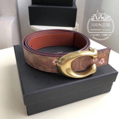 折扣款 全新正品 COACH 78178 女用皮帶 CC LOGO 帆布+印花款 金釦 ladies belt