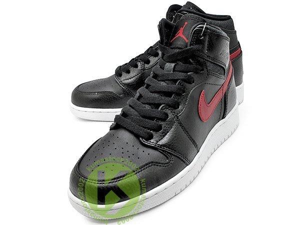 NIKE AIR JORDAN 1 RETRO HIGH BG GS BLACK RED 大童鞋 女鞋 黑紅 黑紅白