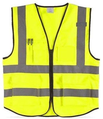 螢光黃/橘色 美式多口袋反光背心 可印字 LOGO 拉鍊款 交通安全 學校導護 自行車 夜間指揮反光背心