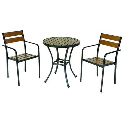 【紅豆戶外休閒傢俱】背二鋁合金塑木桌椅組 一桌二椅 庭園桌椅 咖啡廳桌椅 餐廳桌椅 中庭桌椅 民宿桌椅 農場桌椅