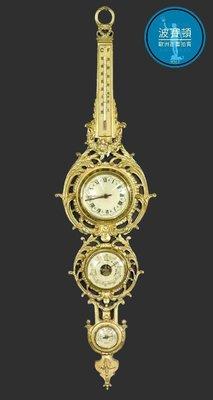 【波賽頓-歐洲古董拍賣】歐洲/西洋古董 法國早期20世紀  大型巴洛克風格黃銅氣象掛鐘 時鐘+溫度計+濕度計+壓力計(高度:113cm)(年份:1960年)