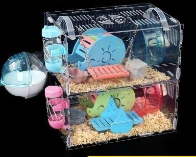 倉鼠籠子超大別墅亞克力基礎籠金絲熊用品玩具大小城堡單雙層透明【 全店免運】 現貨