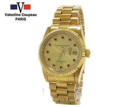 【JAYMIMI傑米】Valentino范倫鐵諾古柏不鏽鋼腕錶-日本機芯-金色男紅寶水鑽錶-送禮佳