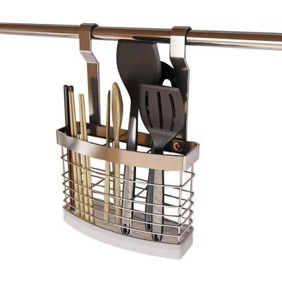 心廚坊 家用不銹鋼筷子筒壁掛式瀝水勺筷籠子架收納盒廚房置物架